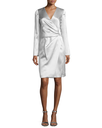 Long-Sleeve Faux-Wrap Dress, Gris