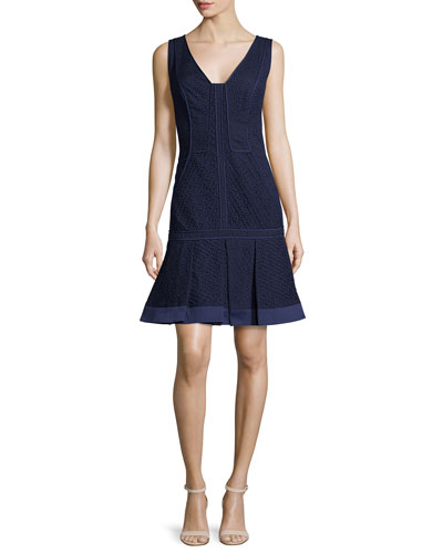 V-Neck Pleated-Hem Dress, Marine