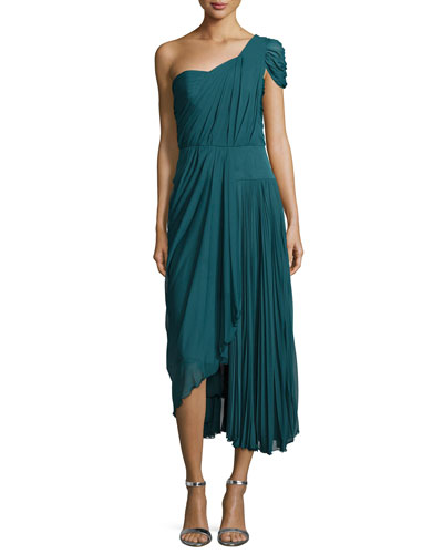 One-Shoulder Asymmetric Pleated Dress, Empress Green