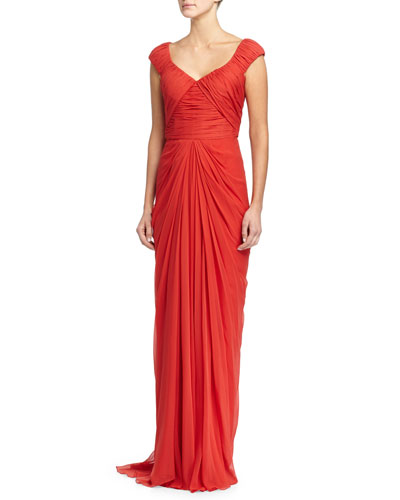 Cap-Sleeve Pleated Gown, Rouge
