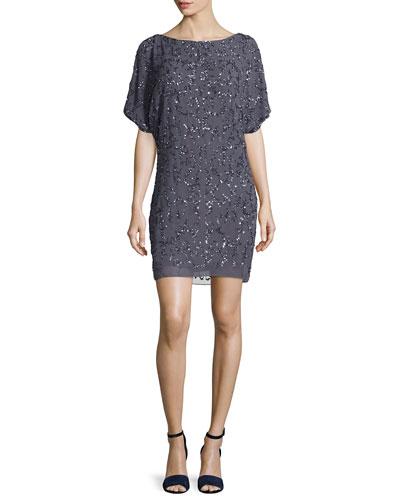 Cold-Shoulder Sequined Cocktail Dress