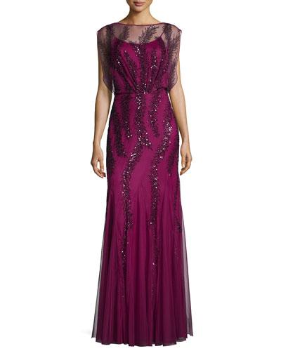 Cap-Sleeve Beaded Godet Gown