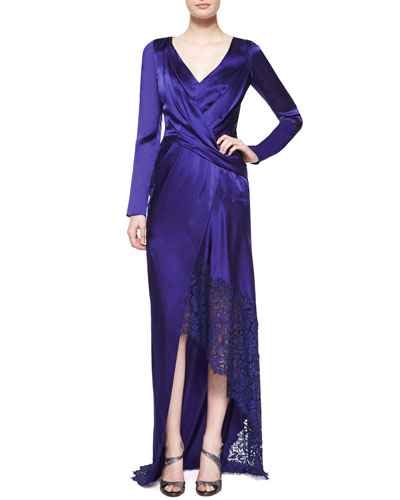 Long-Sleeve Gown w/Lace Trim, Imperial Blue