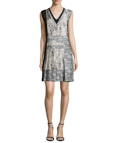 Sleeveless V-Neck Dress W/Lace Insets, Ecru/Noir