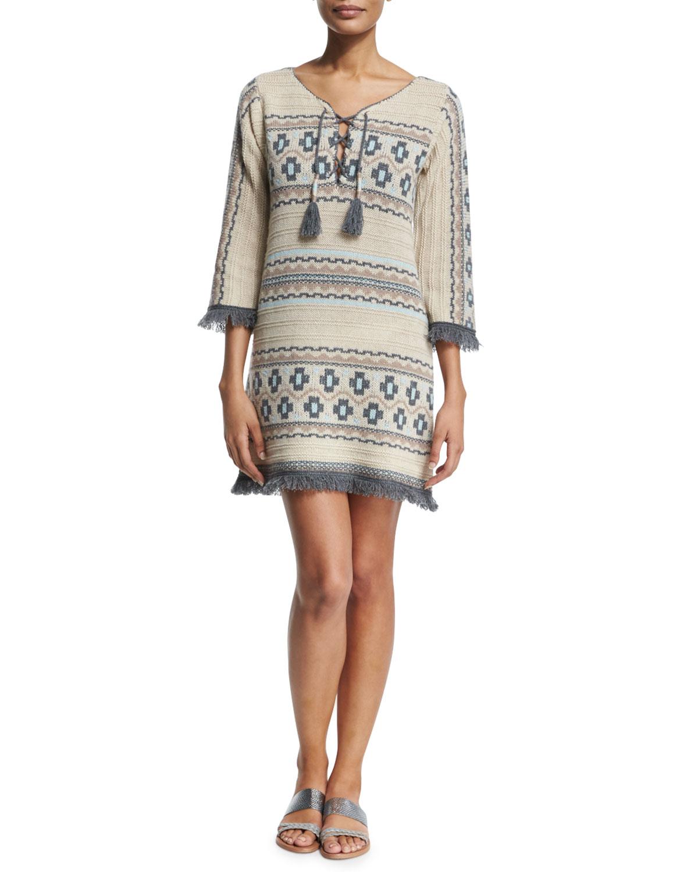 Ranu Tribal-Print Cashmere Sweater Dress, Ivory