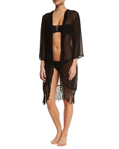 Fez 3/4-Sleeve Tunic Coverup W/Fringe, Black