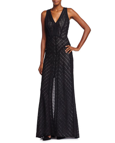 Plunging Lace-Overlay Gown, Noir/Ivoire