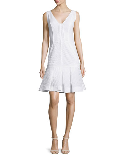 Sleeveless Pleated-Hem Dress, Ecru