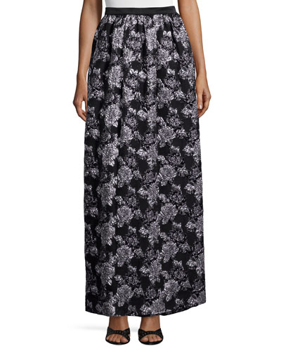 Metallic-Floral Full Skirt, Black/Silver
