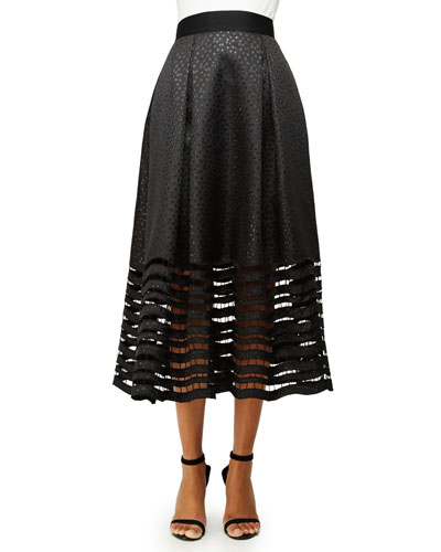 Dot Jacquard Ball Skirt with Illusion Hem