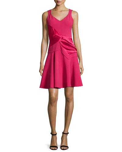 Sleeveless V-Neck Dress, Raspberry
