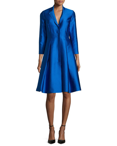 3/4-Sleeve Midi Coat Dress