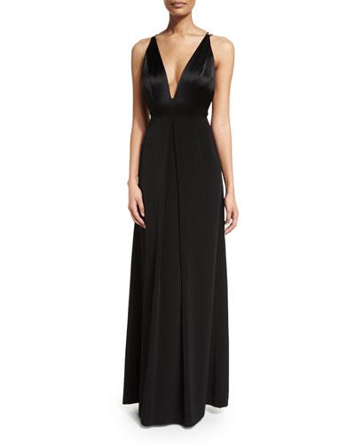 Sleeveless V-Neck Center-Pleat Gown