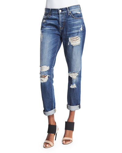 Josefina Relaxed-Fit Distressed Jeans, Rigid Sanded Blue