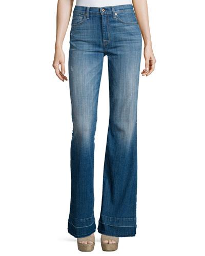 Tailorless Ginger Flare-Leg Released-Hem Jeans, Bright Light