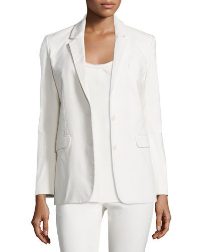 Two-Button Cotton-Blend Jacket, Ivory