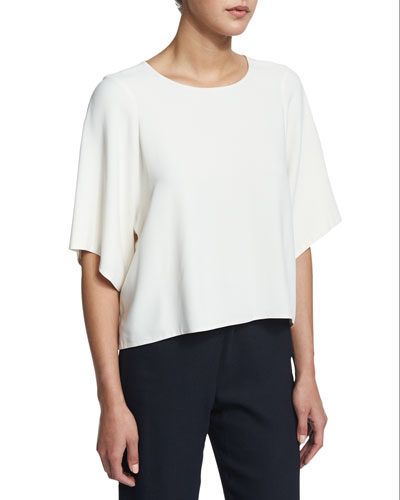 Boxy Woven Top, Ivory