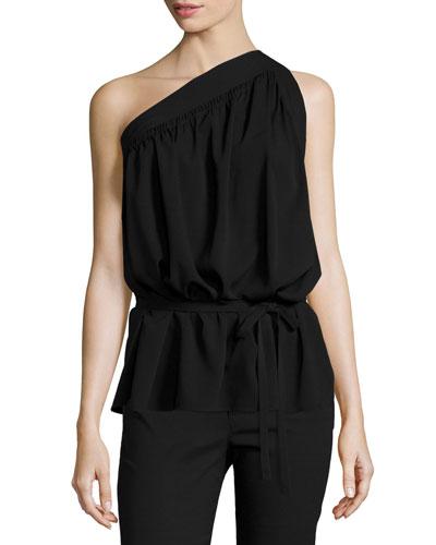 One-Shoulder Silk-Blend Top, Black