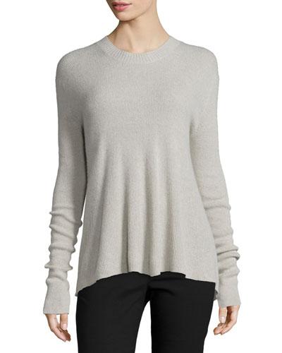 Slit-Back Cashmere-Blend Pullover Sweater, Haze