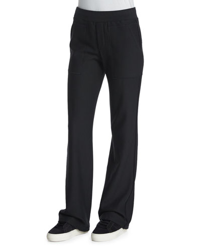 Cotton Flare-Leg Sweatpants, Black