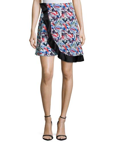 Wrap-Front Circle Skirt, Crimson Paint