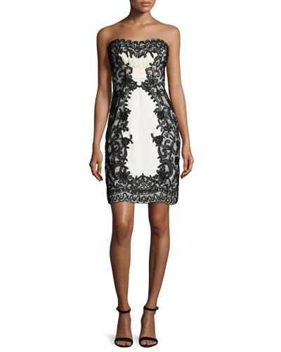 Strapless Lace-Overlay Sheath Dress, Black/Ivory