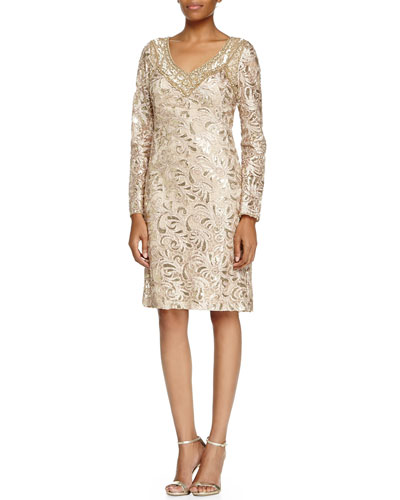 Long-Sleeve Sequined Lace Cocktail Dress