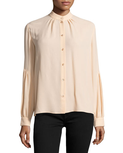 Button-Front Dropped-Shoulder Blouse, Nude