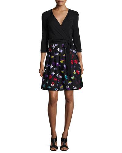 3/4-Sleeve Floral-Print Wrap Dress
