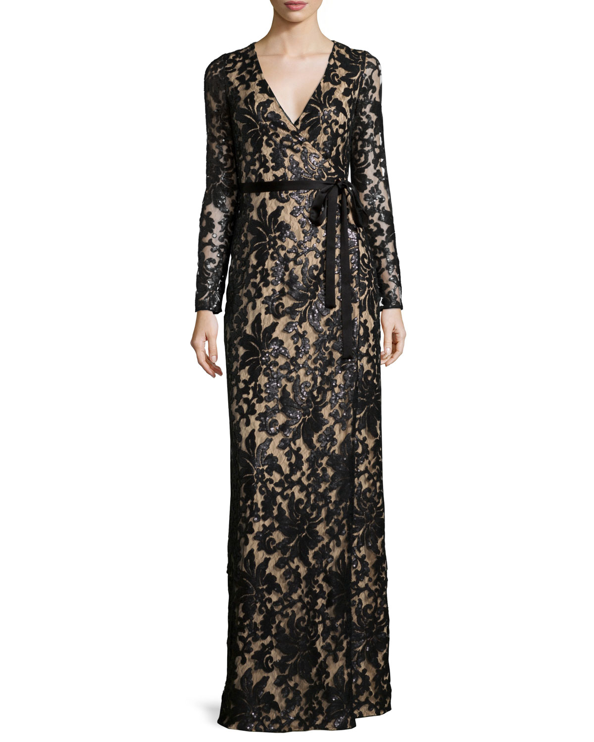 Long-Sleeve Shimmery Lace Wrap Maxi Dress