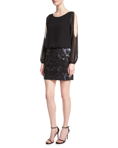 Long-Sleeve Blouson Sequined-Skirt Cocktail Dress