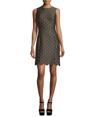Floral-Print Scallop-Hem Shift Dress, Black/Suntan