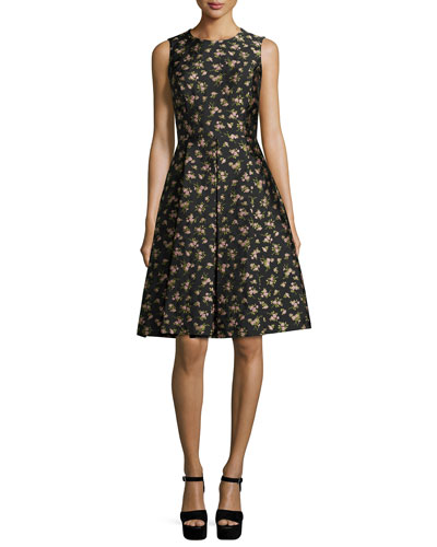 Sleeveless Floral-Print Dance Dress, Black/Oleander