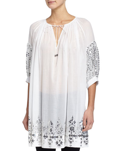 Hand-Embroidered Caftan Tunic