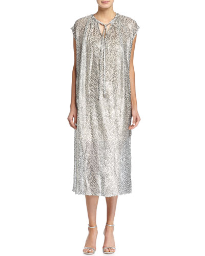 Tie-Neck Metallic Caftan Dress
