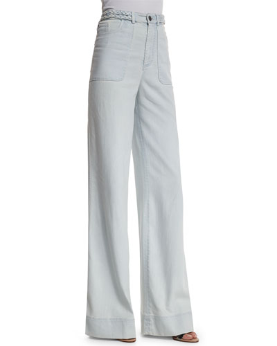 Juno High-Rise Wide-Leg Pants, Light Blue