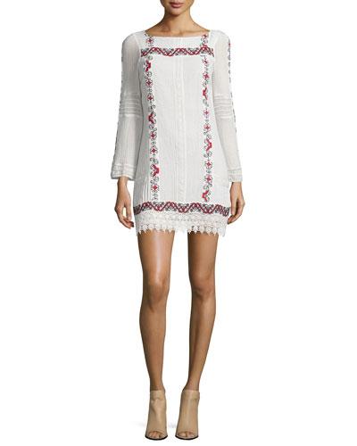 Riska Embroidered Mini Dress, Multi Colors