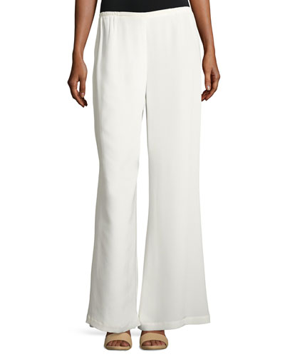 Silk Wide-Leg Pants, White