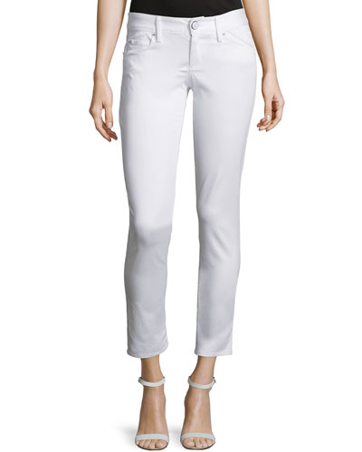 Worth Skinny Sateen Jeans, White