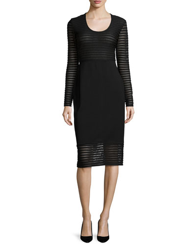 Long-Sleeve Mesh-Striped Dress