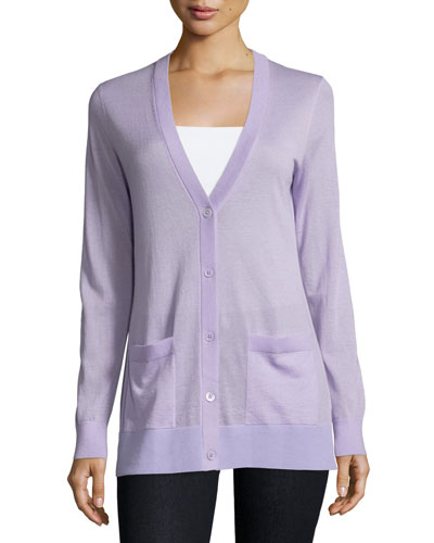 Long-Sleeve Cashmere Cardigan, Thistle