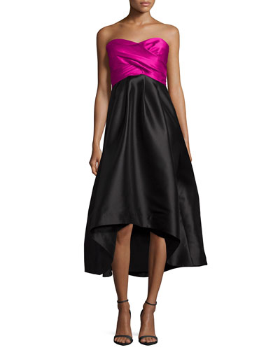 Strapless Sweetheart Colorblock High-Low Dress