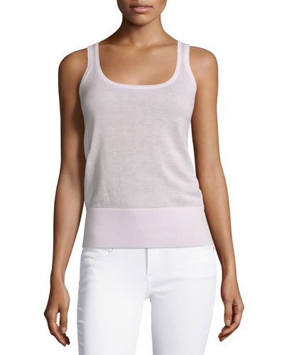 Cashmere Scoop-Neck Tank, Blush