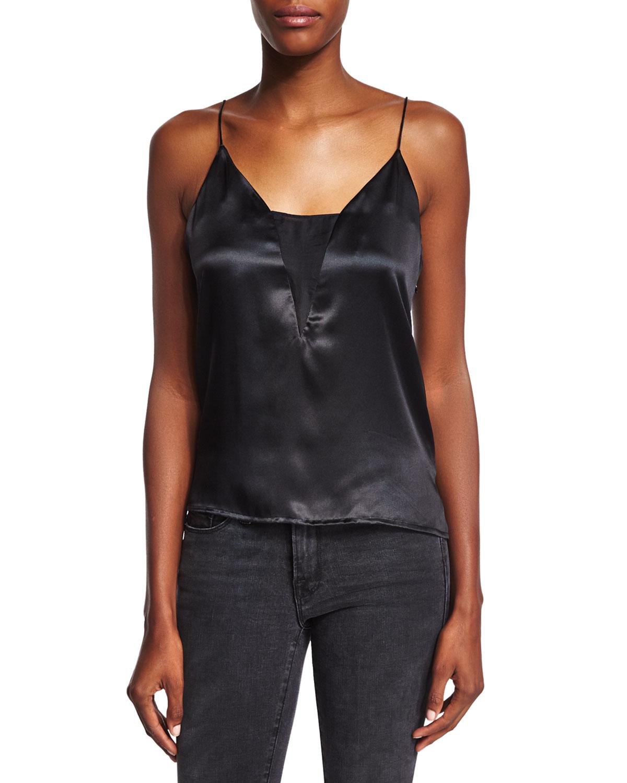 Sheer Silk Camisole, Noir