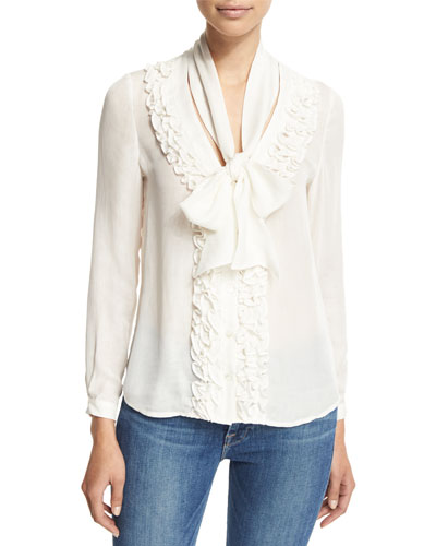 Ruffle Tie-Neck Blouse, White