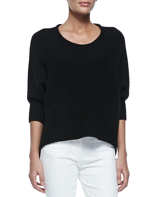 Dolman-Sleeve Crewneck Sweater, Black