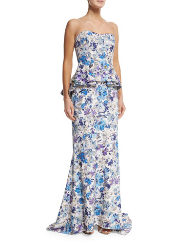Strapless Floral-Print Peplum Gown, Blue/Multi