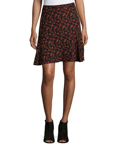 Parks Printed A-Line Skirt, Black/Rust