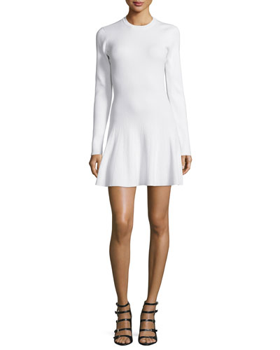 Miriam Long-Sleeve A-Line Knit Dress, White