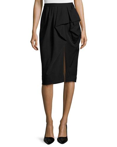 Draped Sarong Pencil Skirt, Black
